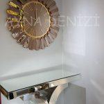 Güneş Golden Jet Bronze Model Altın Bronz Renk Dekoratif Aynalı Duvar Saati-6
