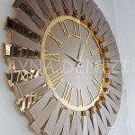 Güneş Golden Jet Bronze Model Altın Bronz Renk Dekoratif Aynalı Duvar Saati-8