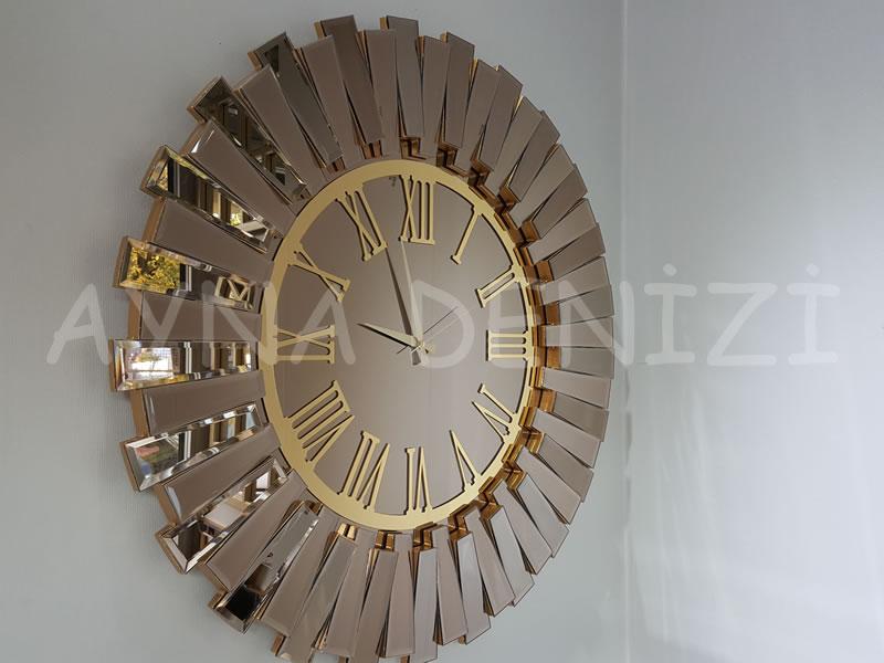 Güneş Golden Jet Bronze Model Altın Bronz Renk Dekoratif Aynalı Duvar Saati