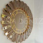 Güneş Golden Latin Bronze Model Altın Bronz Renk Dekoratif Aynalı Duvar Saati-1