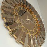 Güneş Golden Latin Bronze Model Altın Bronz Renk Dekoratif Aynalı Duvar Saati-10