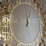 Güneş Golden Latin Bronze Model Altın Bronz Renk Dekoratif Aynalı Duvar Saati-12