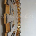 Güneş Golden Latin Bronze Model Altın Bronz Renk Dekoratif Aynalı Duvar Saati-13
