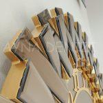 Güneş Golden Latin Bronze Model Altın Bronz Renk Dekoratif Aynalı Duvar Saati-14