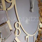 Güneş Golden Latin Bronze Model Altın Bronz Renk Dekoratif Aynalı Duvar Saati-15
