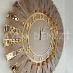 Güneş Golden Latin Bronze Model Altın Bronz Renk Dekoratif Aynalı Duvar Saati-2