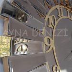 Güneş Golden Latin Bronze Model Altın Bronz Renk Dekoratif Aynalı Duvar Saati-20