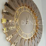 Güneş Golden Latin Bronze Model Altın Bronz Renk Dekoratif Aynalı Duvar Saati-4