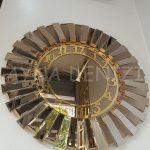 Güneş Golden Latin Bronze Model Altın Bronz Renk Dekoratif Aynalı Duvar Saati-5