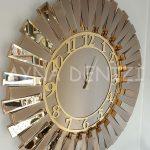Güneş Golden Latin Bronze Model Altın Bronz Renk Dekoratif Aynalı Duvar Saati-6