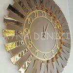 Güneş Golden Latin Bronze Model Altın Bronz Renk Dekoratif Aynalı Duvar Saati-7