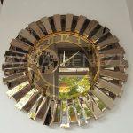 Güneş Golden Latin Bronze Model Altın Bronz Renk Dekoratif Aynalı Duvar Saati-9