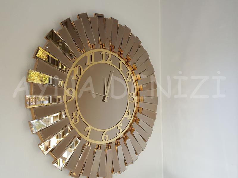 Güneş Golden Latin Bronze Model Altın Bronz Renk Dekoratif Aynalı Duvar Saati