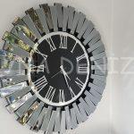Güneş Smoked Jet Black Model Gümüş Siyah Renk Dekoratif Aynalı Duvar Saati-1