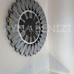 Güneş Smoked Jet Black Model Gümüş Siyah Renk Dekoratif Aynalı Duvar Saati-10