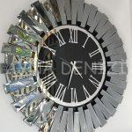 Güneş Smoked Jet Black Model Gümüş Siyah Renk Dekoratif Aynalı Duvar Saati-12