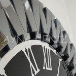 Güneş Smoked Jet Black Model Gümüş Siyah Renk Dekoratif Aynalı Duvar Saati-14