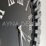 Güneş Smoked Jet Black Model Gümüş Siyah Renk Dekoratif Aynalı Duvar Saati-15