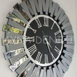 Güneş Smoked Jet Black Model Gümüş Siyah Renk Dekoratif Aynalı Duvar Saati-2