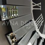 Güneş Smoked Jet Black Model Gümüş Siyah Renk Dekoratif Aynalı Duvar Saati-23