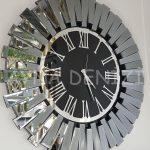 Güneş Smoked Jet Black Model Gümüş Siyah Renk Dekoratif Aynalı Duvar Saati-3