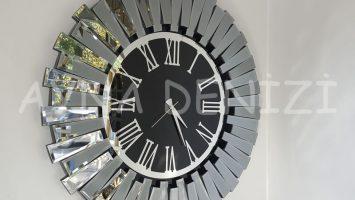 Güneş Smoked Jet Black Model Gümüş Siyah Renk Aynalı Duvar Saati