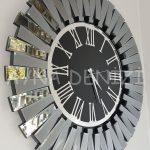 Güneş Smoked Jet Black Model Gümüş Siyah Renk Dekoratif Aynalı Duvar Saati-4