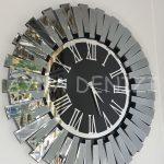 Güneş Smoked Jet Black Model Gümüş Siyah Renk Dekoratif Aynalı Duvar Saati-5