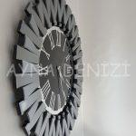 Güneş Smoked Jet Black Model Gümüş Siyah Renk Dekoratif Aynalı Duvar Saati-6
