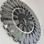 Güneş Smoked Jet Black Model Gümüş Siyah Renk Dekoratif Aynalı Duvar Saati-7
