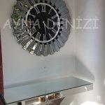 Güneş Smoked Jet Black Model Gümüş Siyah Renk Dekoratif Aynalı Duvar Saati-8