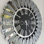 Güneş Smoked Jet Black Model Gümüş Siyah Renk Dekoratif Aynalı Duvar Saati-9