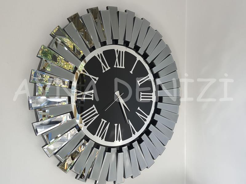 Güneş Smoked Jet Black Model Gümüş Siyah Renk Dekoratif Aynalı Duvar Saati