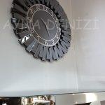 Güneş Smoked Latin Model Gümüş Füme Renk Dekoratif Aynalı Duvar Saati-10