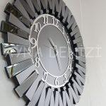Güneş Smoked Latin Model Gümüş Füme Renk Dekoratif Aynalı Duvar Saati-11