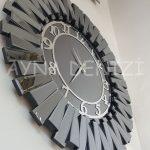 Güneş Smoked Latin Model Gümüş Füme Renk Dekoratif Aynalı Duvar Saati-12