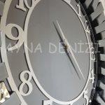 Güneş Smoked Latin Model Gümüş Füme Renk Dekoratif Aynalı Duvar Saati-14