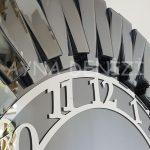 Güneş Smoked Latin Model Gümüş Füme Renk Dekoratif Aynalı Duvar Saati-16