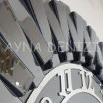 Güneş Smoked Latin Model Gümüş Füme Renk Dekoratif Aynalı Duvar Saati-18