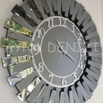 Güneş Smoked Latin Model Gümüş Füme Renk Dekoratif Aynalı Duvar Saati-2