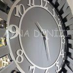 Güneş Smoked Latin Model Gümüş Füme Renk Dekoratif Aynalı Duvar Saati-21