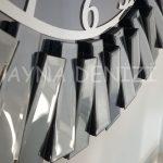 Güneş Smoked Latin Model Gümüş Füme Renk Dekoratif Aynalı Duvar Saati-23