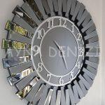 Güneş Smoked Latin Model Gümüş Füme Renk Dekoratif Aynalı Duvar Saati-3