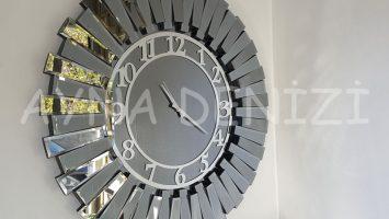 Güneş Smoked Latin Model Gümüş Füme Renk Aynalı Duvar Saati