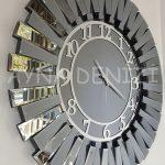 Güneş Smoked Latin Model Gümüş Füme Renk Dekoratif Aynalı Duvar Saati-5
