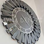 Güneş Smoked Latin Model Gümüş Füme Renk Dekoratif Aynalı Duvar Saati-6