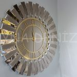 Güneş White Golden Model Altın Bronz Renk Dekoratif Aynalı Duvar Saati-1