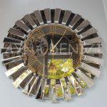 Güneş White Golden Model Altın Bronz Renk Dekoratif Aynalı Duvar Saati-11