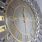 Güneş White Golden Model Altın Bronz Renk Dekoratif Aynalı Duvar Saati-12