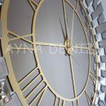 Güneş White Golden Model Altın Bronz Renk Dekoratif Aynalı Duvar Saati-17